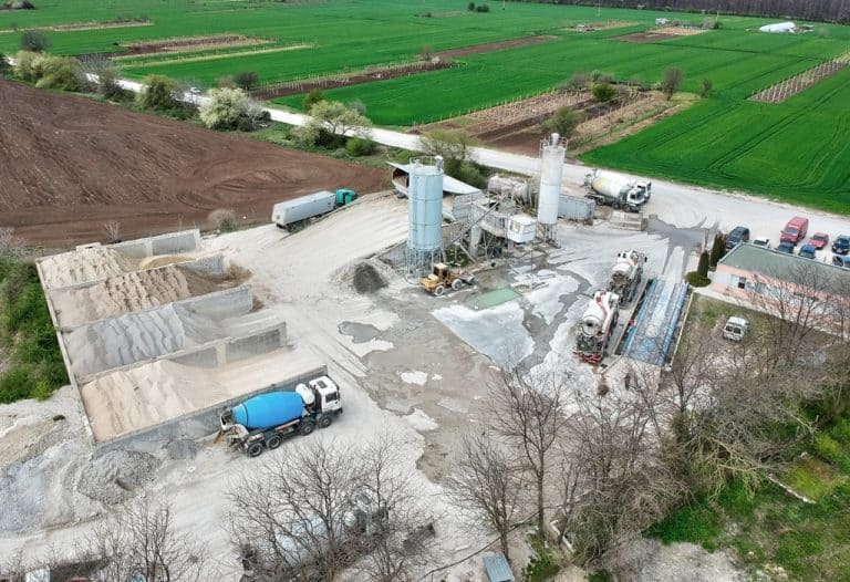 DVS Beton - снимка с дрон на бетоновия възел в Каварна